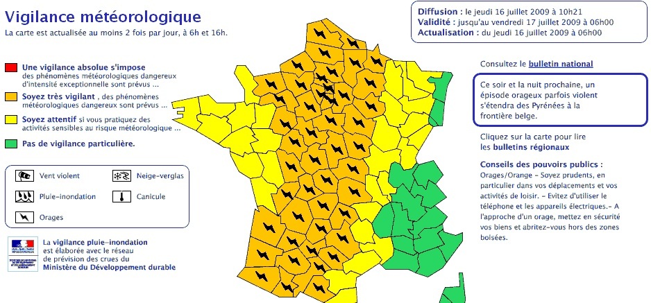 Carte vigilance météo france 09/07